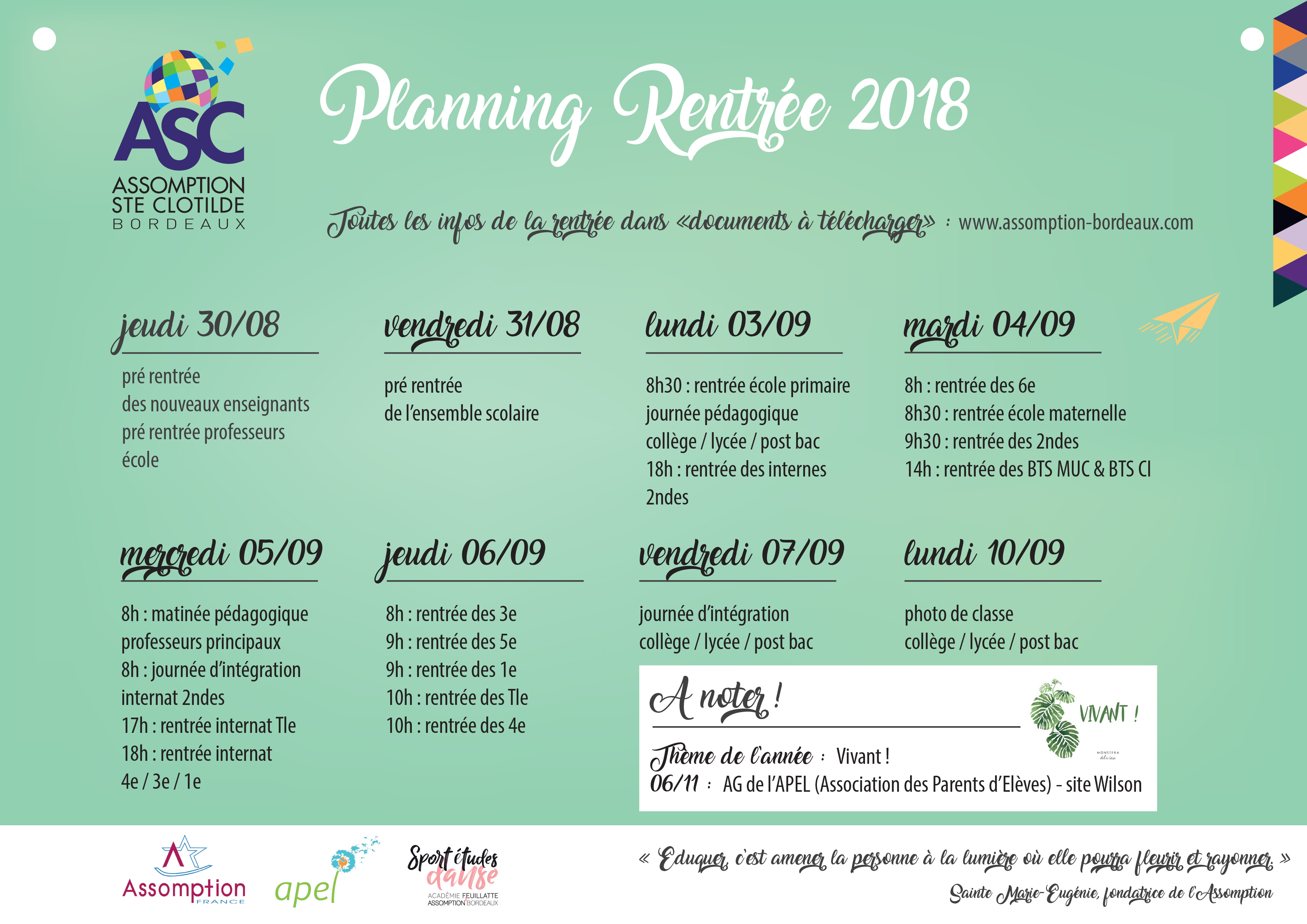 CALENDRIER RENTREE 2018